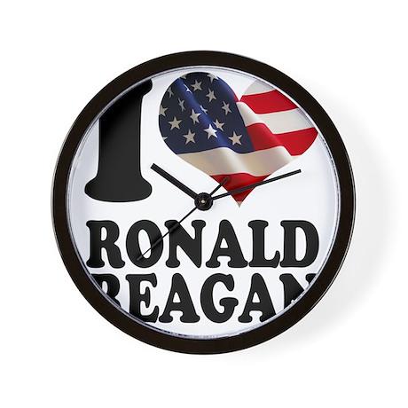 I heart American Flag Ronald Reagan Ret Wall Clock