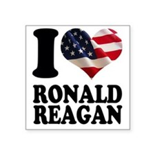 "I heart American Flag Ronal Square Sticker 3"" x 3"""
