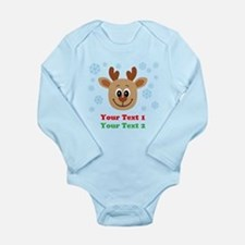 Personalize Cute Baby Reindeer Long Sleeve Infant