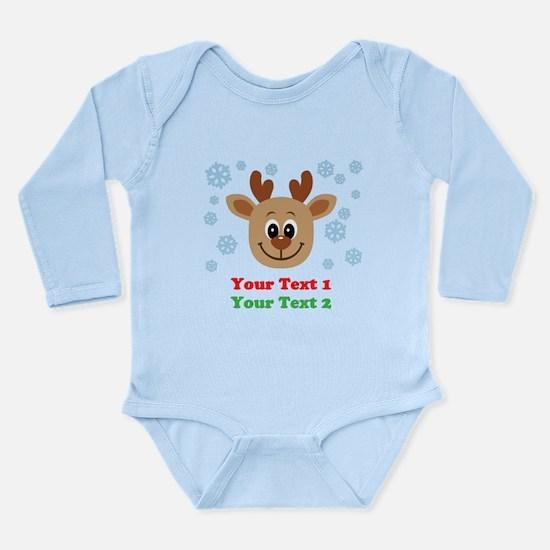 Personalize Cute Baby Reindeer Long Sleeve Infant