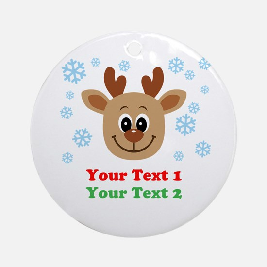 Personalize Cute Baby Reindeer Ornament (Round)
