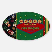 Las Vegas Christmas Card Sticker (Oval)