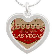 Las Vegas Christmas Card Silver Heart Necklace