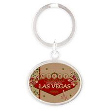 Las Vegas Christmas Card Oval Keychain