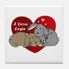I love lop rabbits Tile Coaster