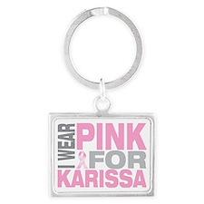 I-wear-pink-for-KARISSA Landscape Keychain