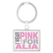 I-wear-pink-for-ALIA Landscape Keychain
