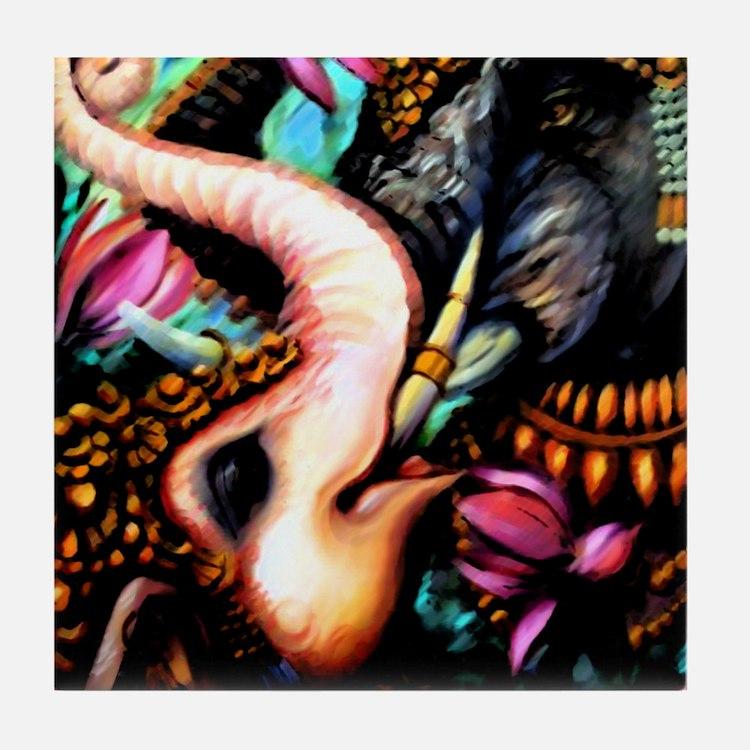 7x7 Dark Elephants Tile Coaster