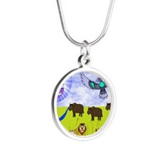 sar_amber_plains.puzzle Silver Round Necklace