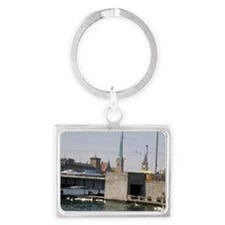 People sit along the Zurichsee  Landscape Keychain