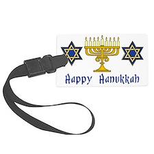 Happy Hanukkah Menorah and Stars Luggage Tag