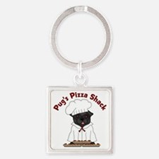 Pugs Pizza Shack Black Pug Square Keychain