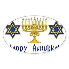 Happy Hanukkah Menorah and Stars Decal