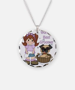 Worlds Best Groomer 3 Necklace Circle Charm
