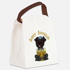 Happy Hanukkah Black PUg Canvas Lunch Bag