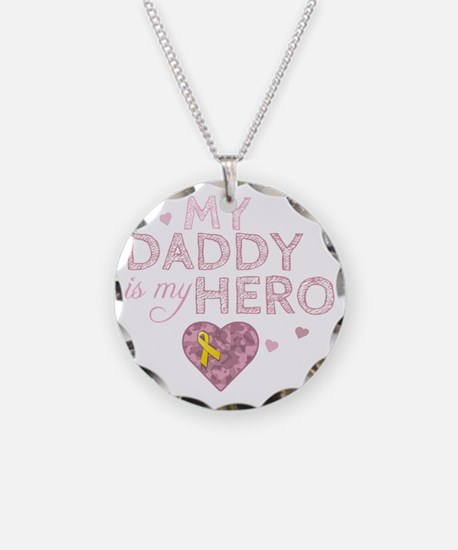daddy is my hero pink Necklace