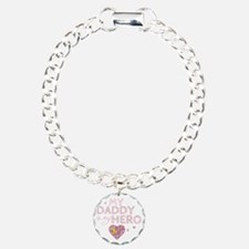 daddy is my hero pink Charm Bracelet, One Charm