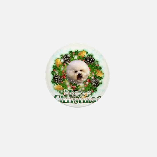 Merry Christmas Bichon Frise Mini Button