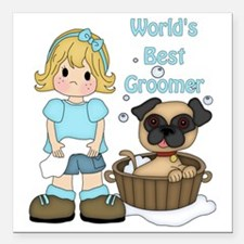 """Worlds Best Groomer (2) Square Car Magnet 3"""" x 3"""""""