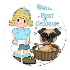 Worlds Best Groomer (2) Round Car Magnet