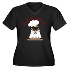Pugs Pizza S Women's Plus Size Dark V-Neck T-Shirt