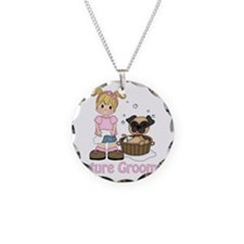 Future Groomer Blonde 1 Necklace Circle Charm