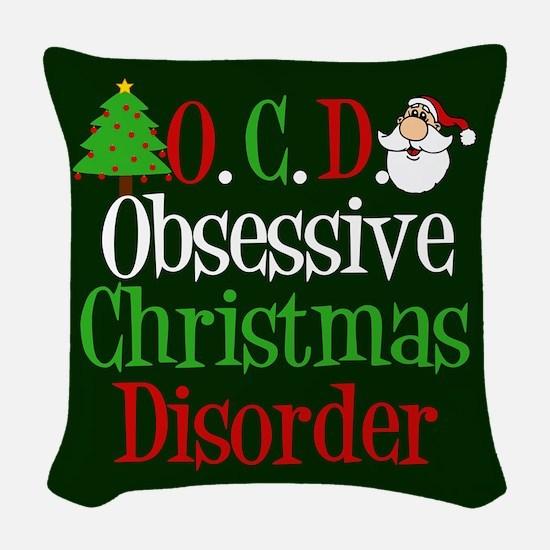 Green Christmas Woven Throw Pillow