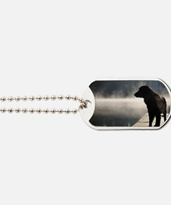 Flat Coat in the Fog Dog Tags