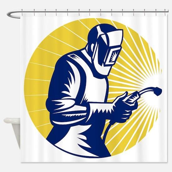 welder welding at work retro style Shower Curtain