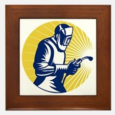 welder welding at work retro style Framed Tile