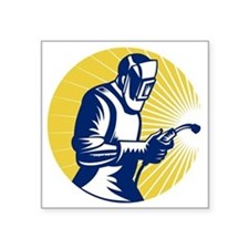 "welder welding at work retr Square Sticker 3"" x 3"""