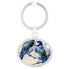 blue birds Oval Keychain