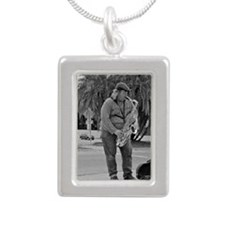 busker Johnnie Keychain Silver Portrait Necklace