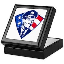 American policeman police officer sec Keepsake Box