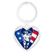 American policeman police officer s Heart Keychain
