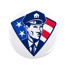 """American policeman police officer secu 3.5"""" Button"""