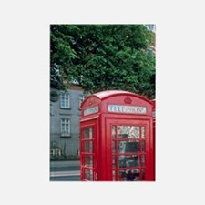 Red telephone booths in London, E Rectangle Magnet