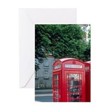 Red telephone booths in London, Engl Greeting Card