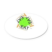 neat green and orange Oval Car Magnet