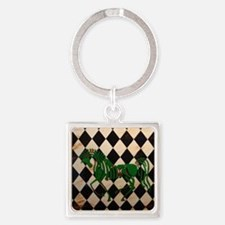 CelticHorseCheckerTile Square Keychain
