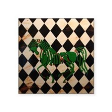"CelticHorseCheckerTile Square Sticker 3"" x 3"""