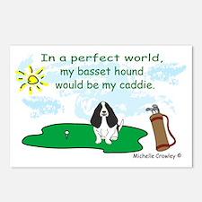 BassetHoundBlk Postcards (Package of 8)