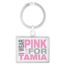 I-wear-pink-for-TAMIA Landscape Keychain