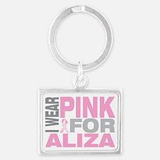 I-wear-pink-for-ALIZA Landscape Keychain