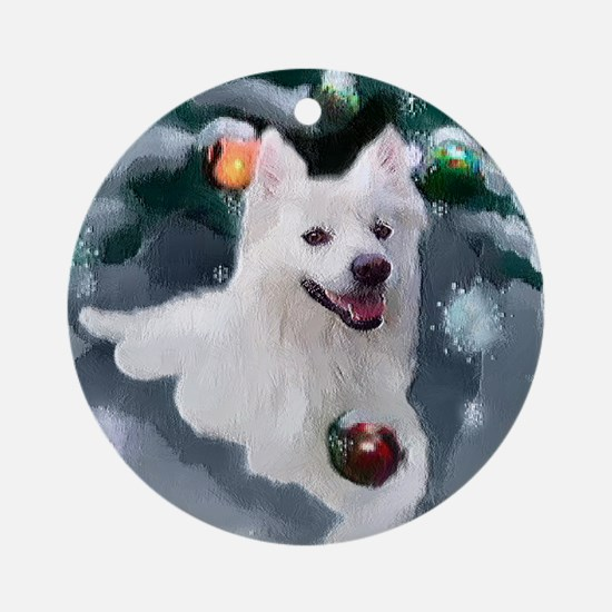 American Eskimo Dog Christmas Round Ornament