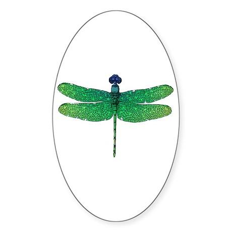 Emerald Dragonfly Oval Sticker