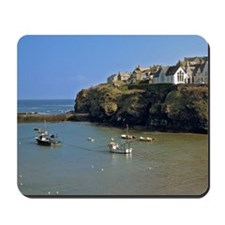 Isaac. Fishing boats sit calmly in the h Mousepad