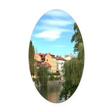 Weeping Willows along Ljublianica  Oval Car Magnet