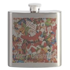 Santa and elves on toy pile Flask