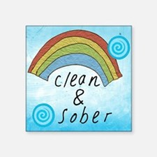 """Clean and Sober Square Sticker 3"""" x 3"""""""